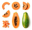 canvas print picture - Set of fresh whole and half papaya fruit and slices