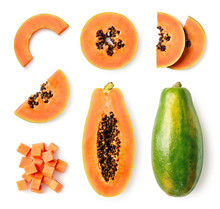 Set Of Fresh Whole And Half Papaya Fruit And Slices