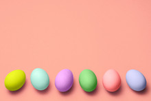 Row Of Eggs Of Different Color...