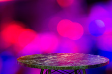 Empty Marble Table For Display Of Products In Front Of Restaurant , Night Bar Or Night Club Abstract Blur Background,empty Copy Space For Party, Promotion Social Media Banners, Posters