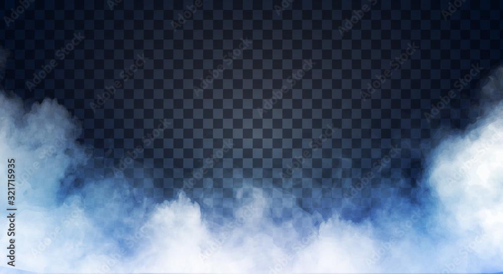 Fototapeta Blue-gray fog or smoke on dark copy space background. Vector illustration