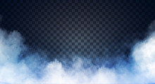 Blue-gray Fog Or Smoke On Dark Copy Space Background. Vector Illustration