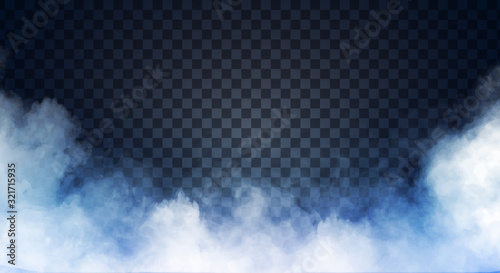 Blue-gray fog or smoke on dark copy space background Fototapeta