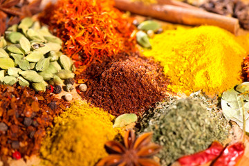 Panel Szklany Przyprawy Spices. Various Indian Spices colorful background. Indian Spice and herbs backdrop. Assortment of Seasonings, condiments. Cooking ingredients, flavor