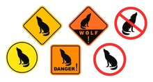 Wolf Danger Sign. Isolated Wolf On White Background