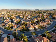Aerial View Of Menifee Neighborhood, Residential Subdivision Vila During Sunset. Riverside County, California, United States