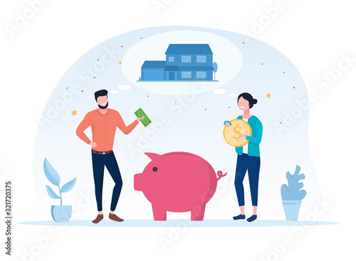Fototapeta Young family saving their money for the future with a man and woman standing on either side of a large pink piggy bank holding cash to deposit, vector illutsration obraz