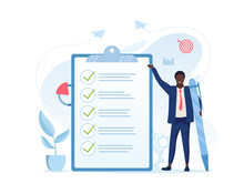 Fulfilment Of Business Tasks Concept With A Businessman Holding A Large Pen Standing Alongside A Clipboard With A To Do List Where All Tasks Have Been Ticked Off As Being Complete, Vector Illustration