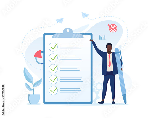 Fototapeta Fulfilment of business tasks concept with a businessman holding a large pen standing alongside a clipboard with a to do list where all tasks have been ticked off as being complete, vector illustration obraz