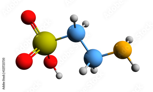 Photo 3D image of taurine skeletal formula - molecular chemical structure of 2-aminoet