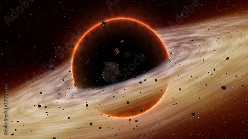 Supermassive black hole on cosmos, space Canvas Print