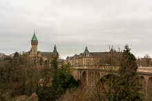 Panoramic View Of Luxembourg Capital. Adolphe Bridge.