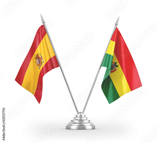 Bolivia and Spain table flags isolated on white 3D rendering Wallpaper Mural