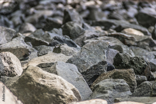 Close up of large rocks piled up to control soil erosion Canvas-taulu