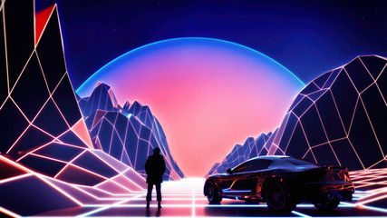retro style synth wave themed landscape environment with high tech sports car and fantasy man figure