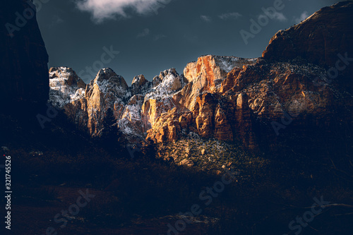 sunset in mountains Canvas Print