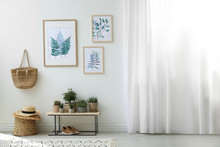 Beautiful Paintings And Plants At Home. Idea For Interior Design