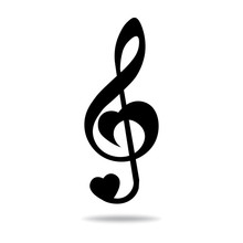 Music Note Treble Clef, Heart ...