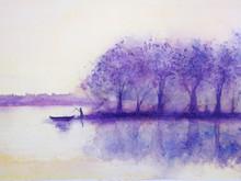 Watercolor Sunset Landscape  T...