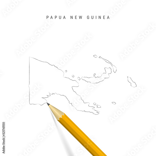 Fotografie, Obraz Papua New Guinea freehand pencil sketch outline vector map isolated on white bac