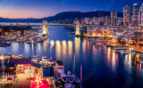 View of Vancouver at night, from Granville Bridge