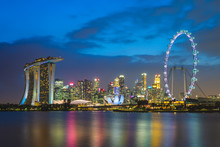 Skyline Of Singapore At Marina...