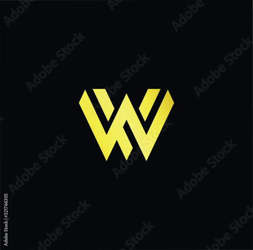 Photo Outstanding professional elegant trendy awesome artistic black and gold color WV VW initial based Alphabet icon logo