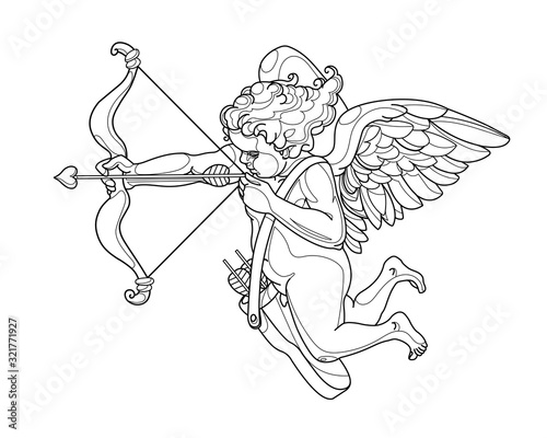 Tableau sur Toile Cupid boy with bow & wings, symbol of love, decorative ornament for Valentine's
