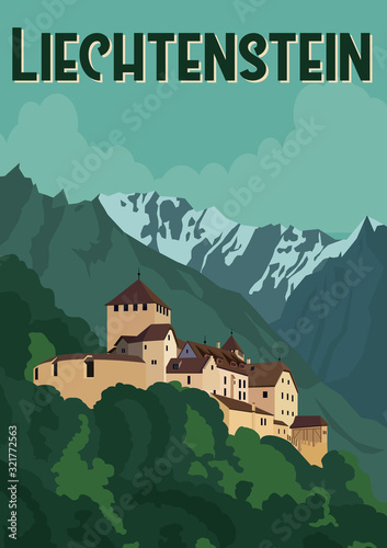 Fototapety, obrazy: Liechtenstein Vector Illustration Background