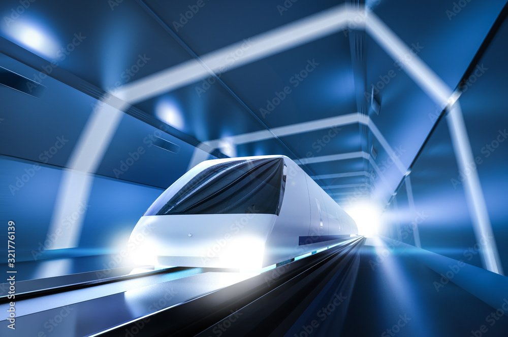 Fototapeta High speed train with motion