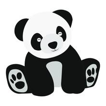 Cartoon Panda Is Sitting Smili...