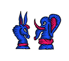 Elections In The USA. Chess Elephant And Chess Donkey. Vector Illustration