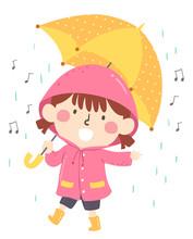 Kid Girl Sing Rain Song Illustration