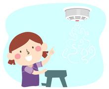 Kid Girl Smoke Fire Alarm Device Illustration