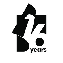 Isolated Abstract Logo 16 Years. In The Form Of An Open Book, Magazine. Happy Greeting Card For The 16 Th Birthday. Black Color Writing On White Background.