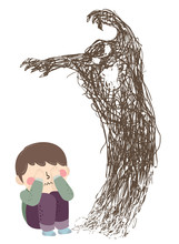 Kid Boy Scared Scribble Illustration