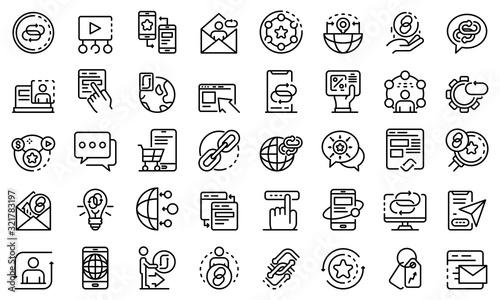 Fotografie, Obraz Backlink strategy icons set