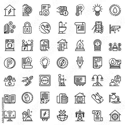 Utilities icons set. Outline set of utilities vector icons for web design isolated on white background Wall mural