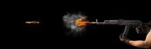 Freezing Shot Of A Gun On A Da...