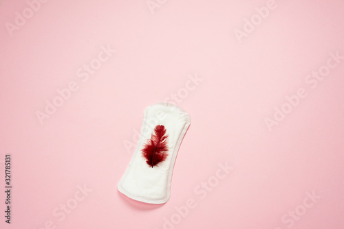 Woman pad lying isolated on  pink  background with red feather on it Canvas Print