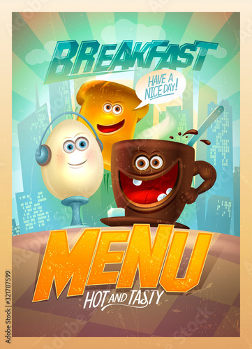 Old style breakfast menu card design template with funny food personages