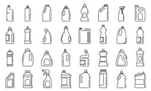 Bleach Bottle Icons Set. Outli...