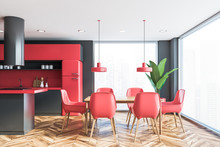 Grey And Red Kitchen Interior ...