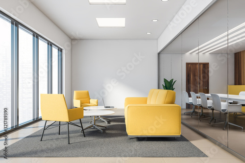 Yellow and wood office lounge with yellow sofas