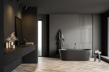 Dark Gray Bathroom With Tub An...