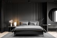 Gray Bedroom Interior With Round Mirror