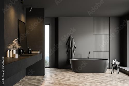 Stampa su Tela Dark gray bathroom with tub and sink