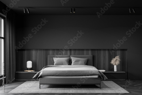 Obraz Gray and wooden master bedroom interior - fototapety do salonu