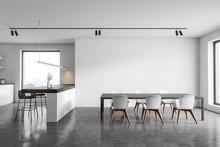 White Kitchen Interior With Ba...