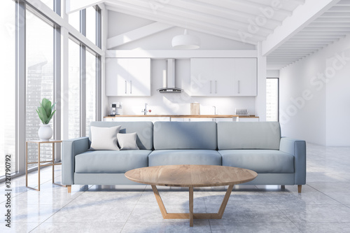 Attic white living room and kitchen interior Poster Mural XXL